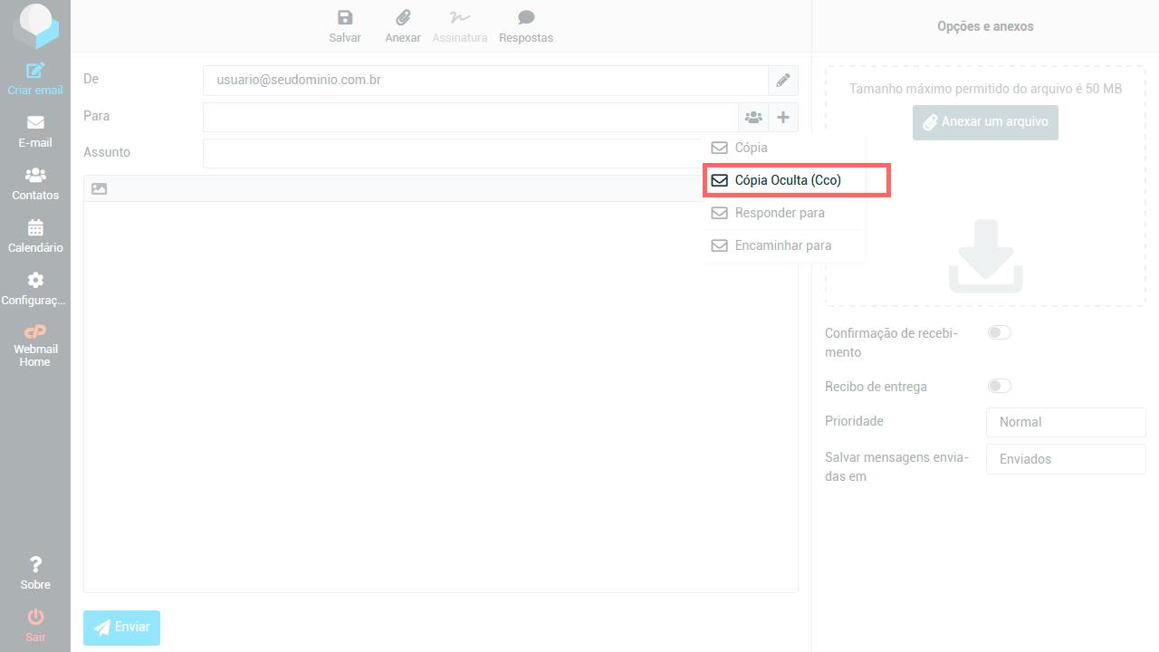"""Tela do Webmail destacando a opções do botão adicionar, clique em """"Cópia Oculta (Cco)"""""""